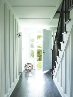 Hamptons home entry and stairs