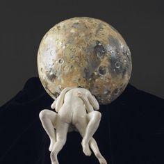 La Lune, 2012. Porcelain, glazes, china paint. 30 x 56 x 30 cm