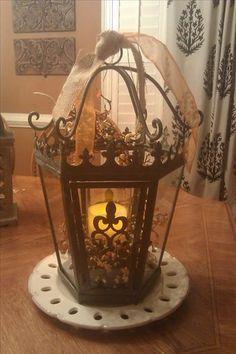Monarch Lantern ($120) on Gramercy Ribbon Plate