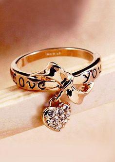 Gorgeous golden heart shape engagement ring