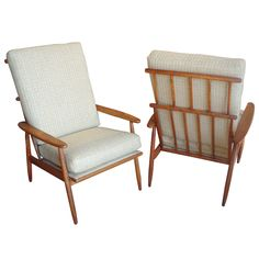 Pair of Danish Modern Teak Windsor Style High Back Arm Chairs | From a unique collection of antique and modern armchairs at http://www.1stdibs.com/furniture/seating/armchairs/