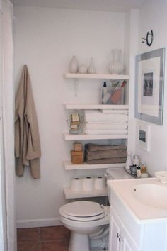 home decor for small spaces Who says you cant use the small space by the toilet. We love this Toilet Shelving Idea. Bathroom Storage Ideas for Small Spaces; solutions for your everyday family. Bathroom Hacks and Tricks you wish you knew yesterday. Bathroom Storage Solutions, Small Bathroom Organization, Bathroom Hacks, Diy Bathroom Decor, Simple Bathroom, Family Bathroom, Organization Ideas, Bathroom Shelves, Bathroom Cabinets