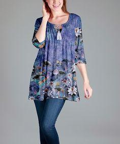 Lavender Floral Tassel-Tie Tunic - Plus Too