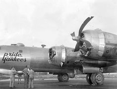 """Boeing B-29-45-BW, s/n 42-24676, """"Pride of the Yankees"""", 882nd Squadron, 500th Bomb Group, Iwo Jima, March 9, 1945"""