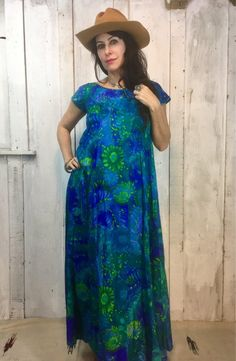 75788ebc3bf0 Vintage Maxi Dress  cosmic Blue and Green Cotton Dress   Bohemian Cotton  Kaftan  1970s Boho Gypsy Dr