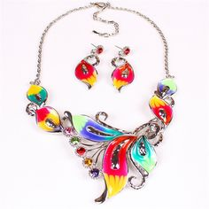 Fashion Alloy Colorful Flower Style Crystal Long Chain Resin Jewelry Set for Women Ladies