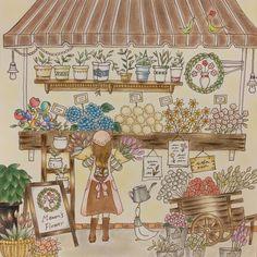 169 個讚,22 則留言 - Instagram 上的 Yukiko Koike(@yuki_111_k):「 花屋* ・ ・ 配色が微妙… レインボーローズが好きなので 塗ってみました✩ ・ ・  #大人の塗り絵 #コロリアージュ #ロマンティックカントリー #色鉛筆 #パステル 」