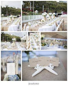 Beach Inspired Reception Decor | marriott frenchman reef in St. Thomas Destination Wedding Photos by JessFoto