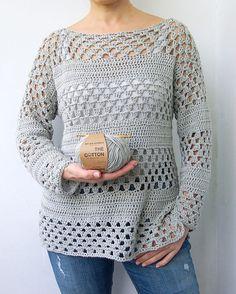 Crochet Pattern woman granny stripes sweater women pullover