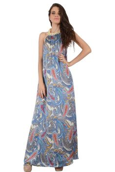 2fe474a61c34 Φόρεμα σατέν εμπριμέ μακρύ εξώπλατο σε ριχτή γραμμή με λούρεξ κορδόνι στον  λαιμό δεμένο πλεξούδα