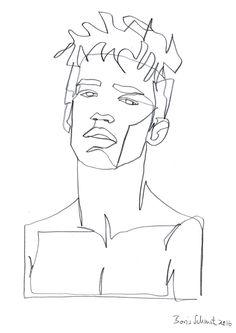 """Gaze 402″, continuous line drawing by Boris Schmitz"