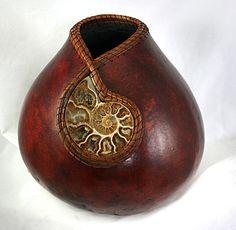 antler and pine needle gourd art | 1230 Ammonite, pine needles