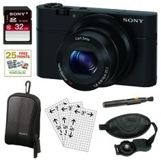 Sony DSC-RX100 DSCRX100 20.2 MP Exmor CMOS Sensor Digital Camera with 3.6x Zoom + Sony 32GB Class 10 Memory Card + Sony Soft Carry Case + Lens Pen Cleaning Tool + 25 Free Prints + Zeikos Deluxe Screen Protector + Zeikos Professional Wrist Grip Strap for Digital and Film SLR Cameras by Sony. $648.00. Sony DSC-RX100/B Whether you're a professional photographer in need of a truly pocketable, high-performance compact camera to take on the go, or simply wish to expand th...