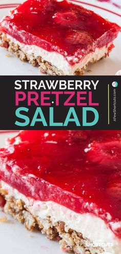 This is a classic sweet and salty dessert recipe You must try this yummy Strawberry Pretzel Salad Recipe with gluten free option AFewShortCuts Strawberry Pretzel Salad, Strawberry Dessert Recipes, Jello Recipes, Candy Recipes, Cupcake Recipes, Strawberry Summer, Köstliche Desserts, Delicious Desserts, Sweets