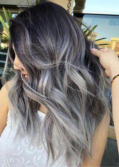 Reverse Ombre Hair, Reverse Balayage, Ombre Hair Color, Silver Grey Hair, Gray Hair, Coloured Hair, Long Bob, Skin Makeup, Cut And Color