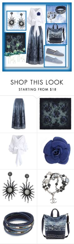"""Kind of Blue"" by feralkind ❤ liked on Polyvore featuring MaxMara, Chicwish, Chanel, Design Lab, Sakroots and TOMS"