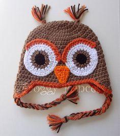 Crochet Owl Earflap Beanie Hat (Orange, Brown & White) - Etsy $18.00