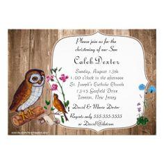 Vintage Owl and Wood Christening Invitation