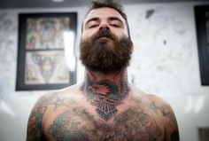 thick brown beard and mustache beards bearded man men tattoos tattooed throat ink inked upshot under shot photo bushy full handsome Eagle Neck Tattoo, Side Neck Tattoo, Girl Neck Tattoos, Neck Tattoo For Guys, Men Tattoos, I Love Beards, Great Beards, Awesome Beards, Hairy Men