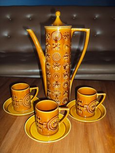 "So beautiful!   Vintage Retro Portmeirion ""Totem"" Coffee Set"