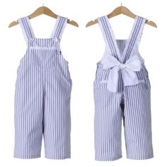 blue and white seersucker overall romper with bow back detail Baby Girl Fashion, Toddler Fashion, Kids Fashion, Little Girl Outfits, Kids Outfits, Got Costumes, Baby Dress Patterns, Girls Party Dress, Matching Family Outfits