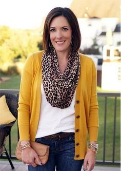 love this color of mustard yellow. the scarf is kind of cool too. Leopard 1eede00a52f