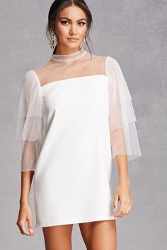 A woven dress featuring an illusion neckline, accordion pleated layered sleeves, and a concealed back zipper.<p>- This is an independent brand and not a Forever 21 branded item.</p>