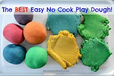 Make this super simple no cook play dough for the best kids playdough around! It's soft, easy to color, and stores well for weeks and weeks! Find recipe on momspotted.com