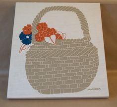 70s Marushka Canvas Screen Print Basket Flowers - Wall Hanging
