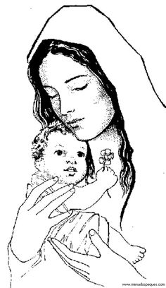Catholic Coloring Page of Baby Jesus and His mother, Mary Religious Images, Religious Art, Jesus Drawings, Art Drawings, Mary Tattoo, Sainte Marie, Blessed Mother Mary, Holy Mary, Christmas Drawing