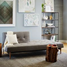 West Elm Mid-Century Futon ($999) ❤ liked on Polyvore featuring home, furniture, sofas, mid century modern couch, mid century style furniture, mid-century sofa, midcentury modern sofa and west elm