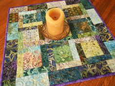 Quilted Square Table Topper with Batiks in Shades of Purple Teal Blue Yellow and Green, Batik Table Runner, Quilted Tablecloth, Candle Mat by SusiQuilts on Etsy