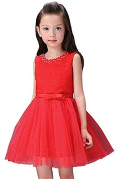 Flower Girl Embroidery Lace Princess Sequins Bling Tutu Bow Tie Prom Dress Red *** Want additional info? Click on the image.