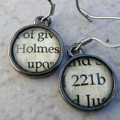 Word Earrings, Sherlock Holmes Earrings, Book Earrings,  221b Baker Street…