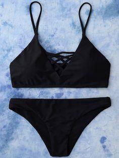 $11.99 Lace Up Bikini Top and Bottoms - BLACK M
