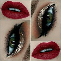 Gold Glitter Eyes + Red Lips Make - up 43 Christmas Makeup Ideas to Copy This Season Makeup Goals, Makeup Inspo, Makeup Inspiration, Makeup Ideas, Makeup Tips, Makeup Tutorials, Makeup Geek, Makeup Hacks, Belle Makeup