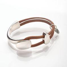 Bracelet cordon de cuir et demi jonc en métal argenté (sans nickel)