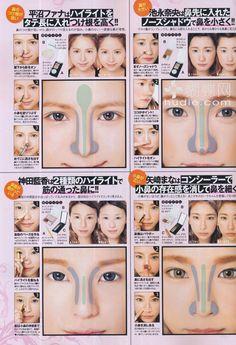 Maquillaje Japonés para darle forma a la nariz.