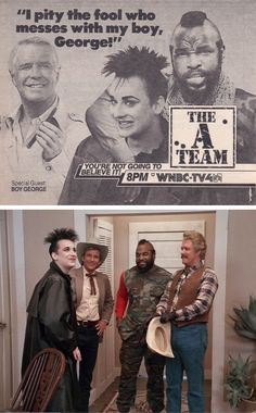 "The A Team — Season Episode ""Cowboy George"" with special guest Boy George, originally aired on February 80s Tv Series, 80 Tv Shows, George Peppard, Culture Club, Boy George, Vintage Tv, The A Team, High Five, Love Movie"