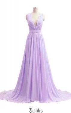 V-neck Lavender Long Chiffon Prom Dresses Evening Dresses, This dress could be custom made, there are no extra cost to do custom size and color
