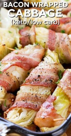 Bacon wrapped cabbage it both low carb and keto friendly. Just a few simple ingr… Bacon wrapped cabbage it both low carb and keto friendly. Just a few simple ingredients, cabbage wrapped in bacon and cooked to tender perfection is… Continue Reading → Cabbage Wraps, Cabbage And Bacon, Meals With Cabbage, Cabbage Low Carb Recipes, Carbs In Cabbage, Baked Cabbage, Cabbage Steaks, Cabbage Rolls Recipe, Cabbage Salad