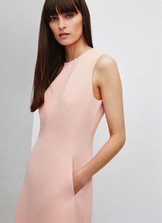 Classic dress in coral pink by Adolfo Domínguez