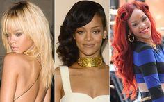 Rihanna é uma camaleoa por excelência! Hoje, está com o cabelo escuro e longo, mas já apareceu ruiva, com fios muito vermelhos em 2010, e foi loira até o início de 2012.