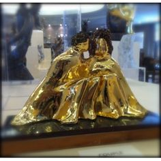 Alfred Tibor Sculpture Couple, Gold Plated. Available at Argo & Lehne Jewelers.