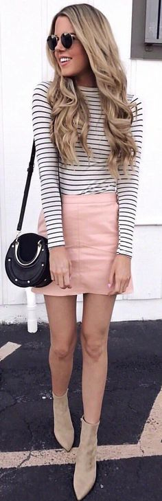 #spring #outfits white and black striped long-sleeved shirt with pink skirt. Pic by @lulus