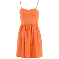 Jeremy Scott Short Dresses (10,655 THB) ❤ liked on Polyvore featuring dresses, orange, orange dress, red circle skirt, skater skirt, polka dot dress and orange skater skirt