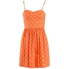 Jeremy Scott Short Dresses ($305) ❤ liked on Polyvore featuring dresses, orange, red skater skirt, polka dot dress, flared skirt, orange dress and sweetheart dress