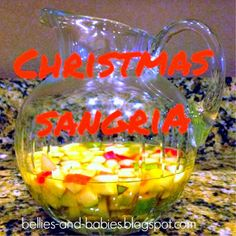 AMAZING sangria!!! White wine, sparkling cider, Fireball cinnamon whiskey, club soda, apples and pears. YUM!!!