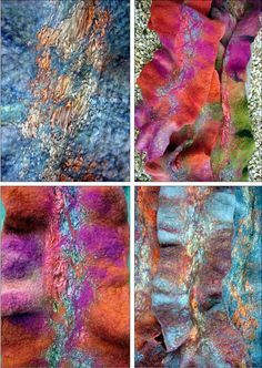 Some beautiful examples of vibrant nuno felting. We carry a great nuno felt kit to get you creating! Nuno Felting, Needle Felting, Wooly Bully, Felt Pictures, Felting Tutorials, Summer Events, Felt Hearts, Fabric Manipulation, Fabric Art