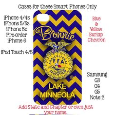 Burlap Chevron in Blue and Yellow and your State and Chapter, Area, or District for your phone case.